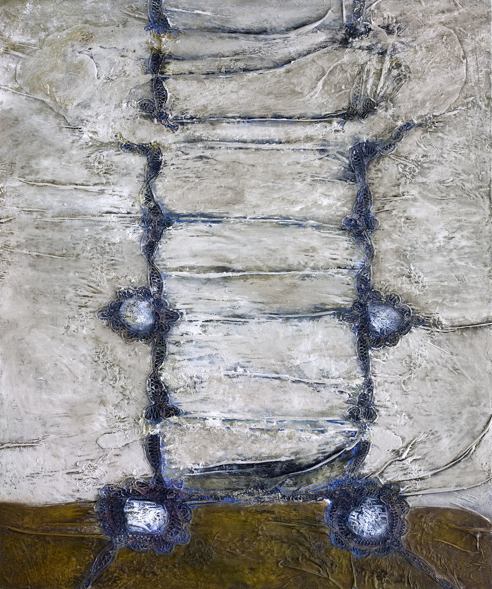 Table Cloth  48x40 in. Mixed Media on Board  (Anne Irwin Gallery)