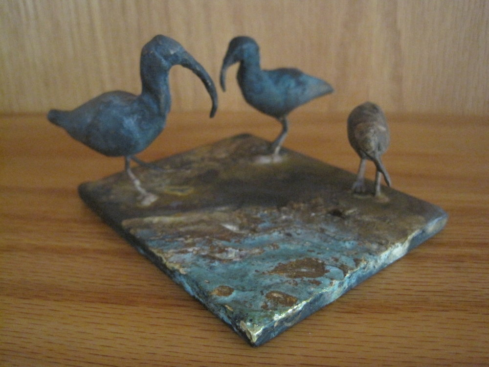 Shorebirds, 2013, bronze, steel