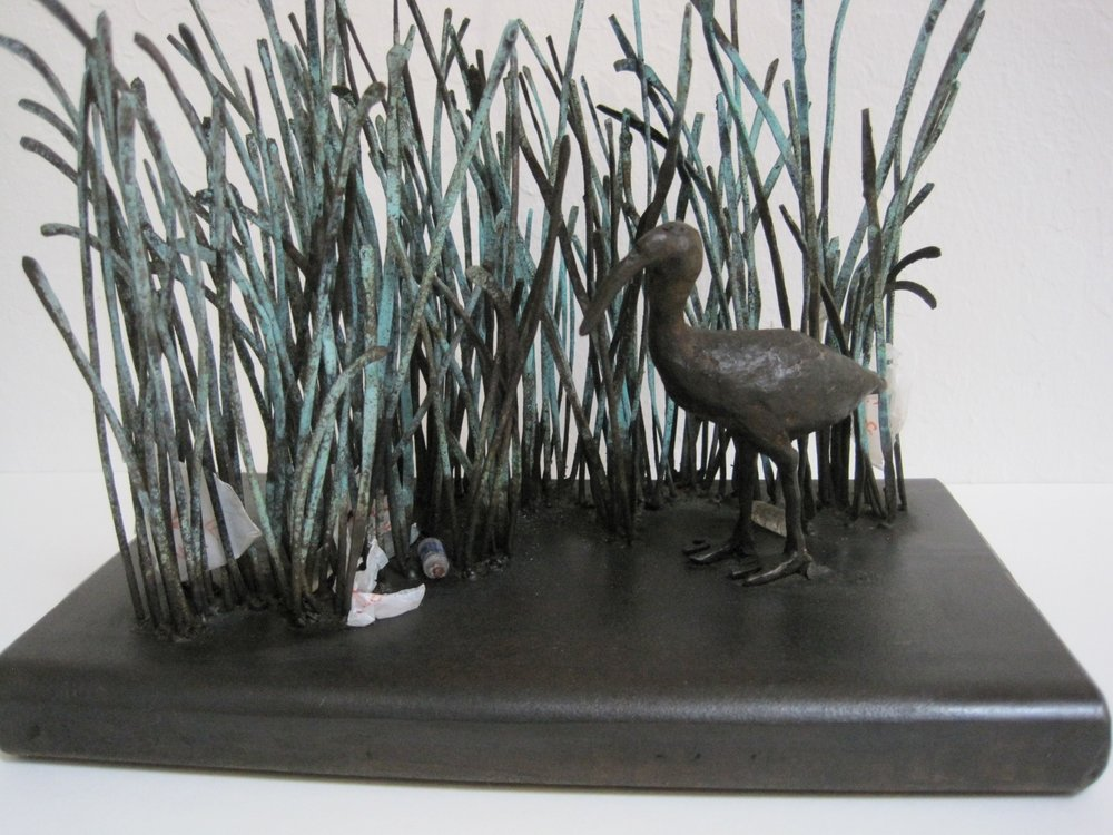 Why in My Backyard I, 2012, bronze, steel, plastic