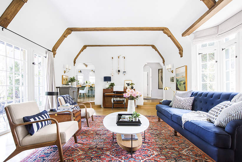 Emily Henderson's living room in  Real Simple