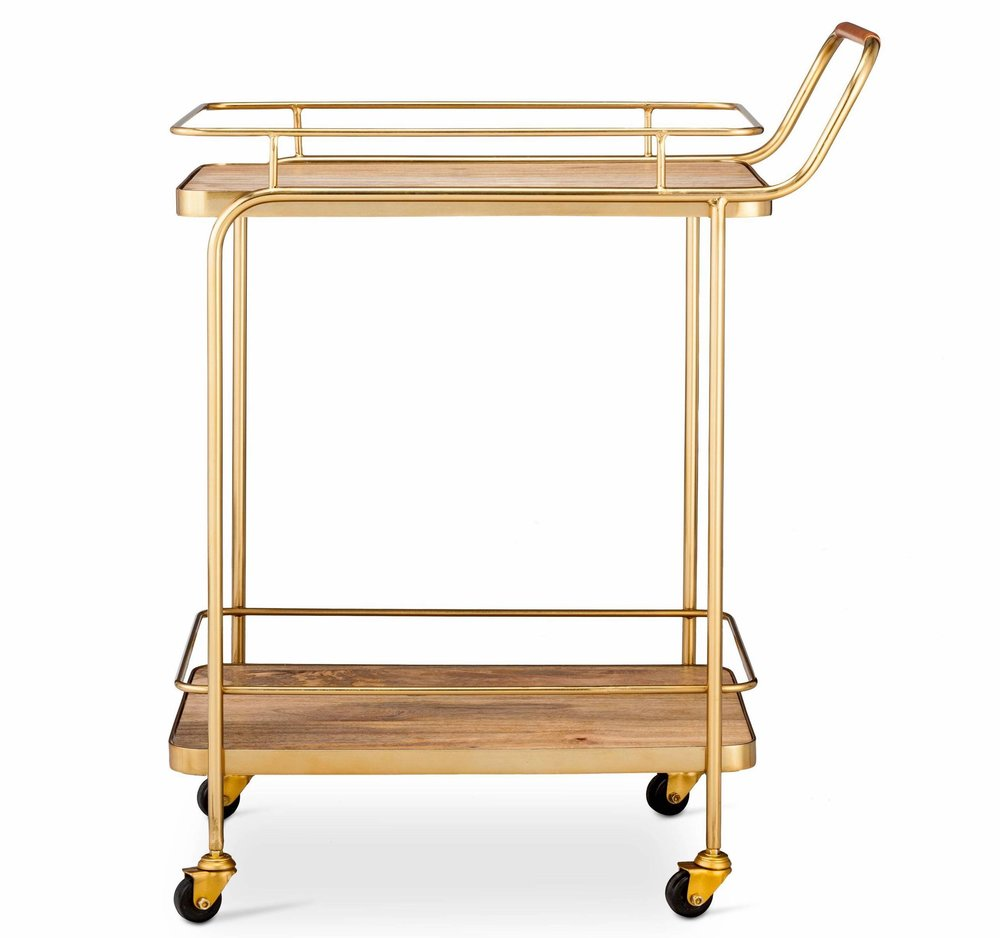 Target wood and leather bar cart gold.jpeg