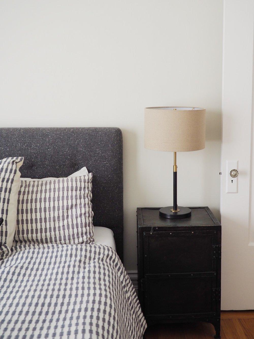 Nightstands: Restoration Hardware ( similar ). Bed:  West Elm . Bedding: West elm ( similar ). Lamp:  West Elm .