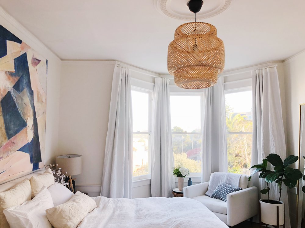 How To Hang Blackout Curtains On A Bay Window Eliza Kern