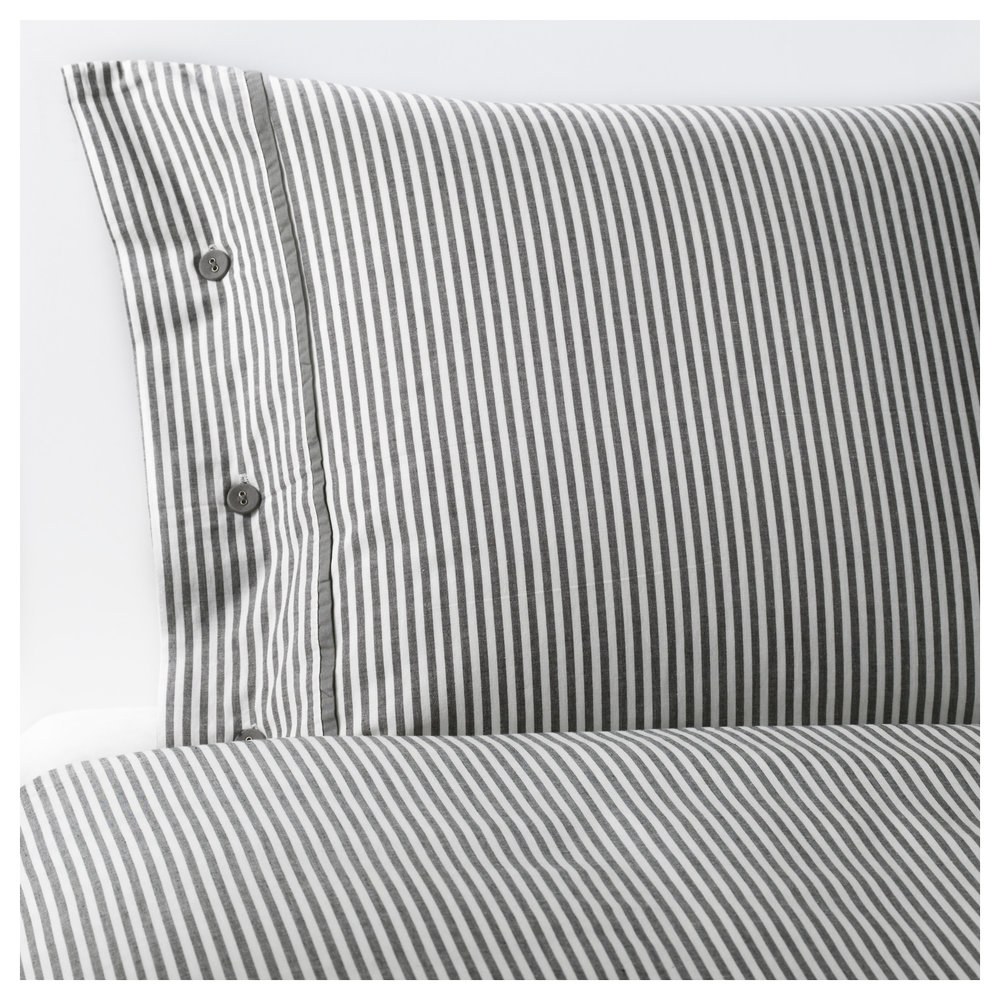 Ikea striped grey duvet.JPG