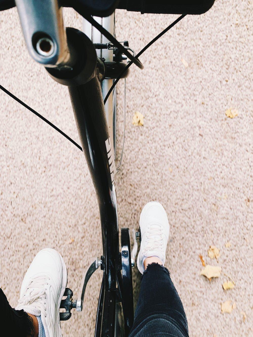 Stretching my legs on a bike.