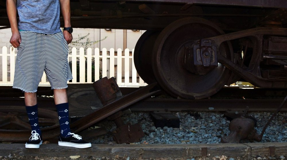 Cool socks on railroad