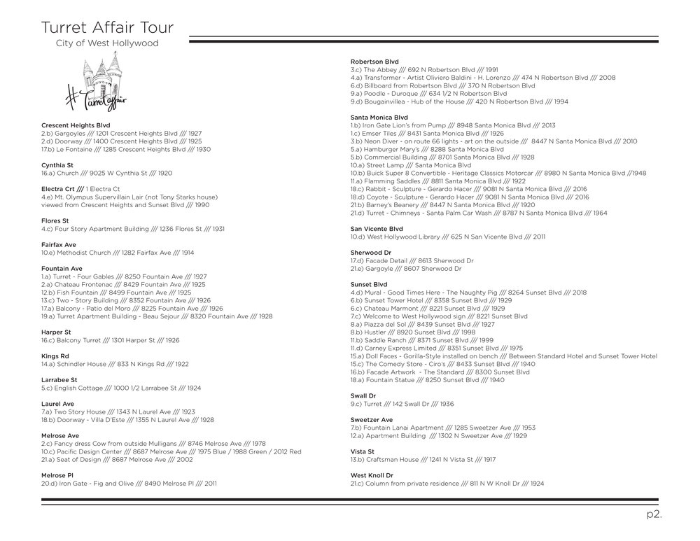Page 2 of the downloadable PDF Turret Affair Tour - the address page