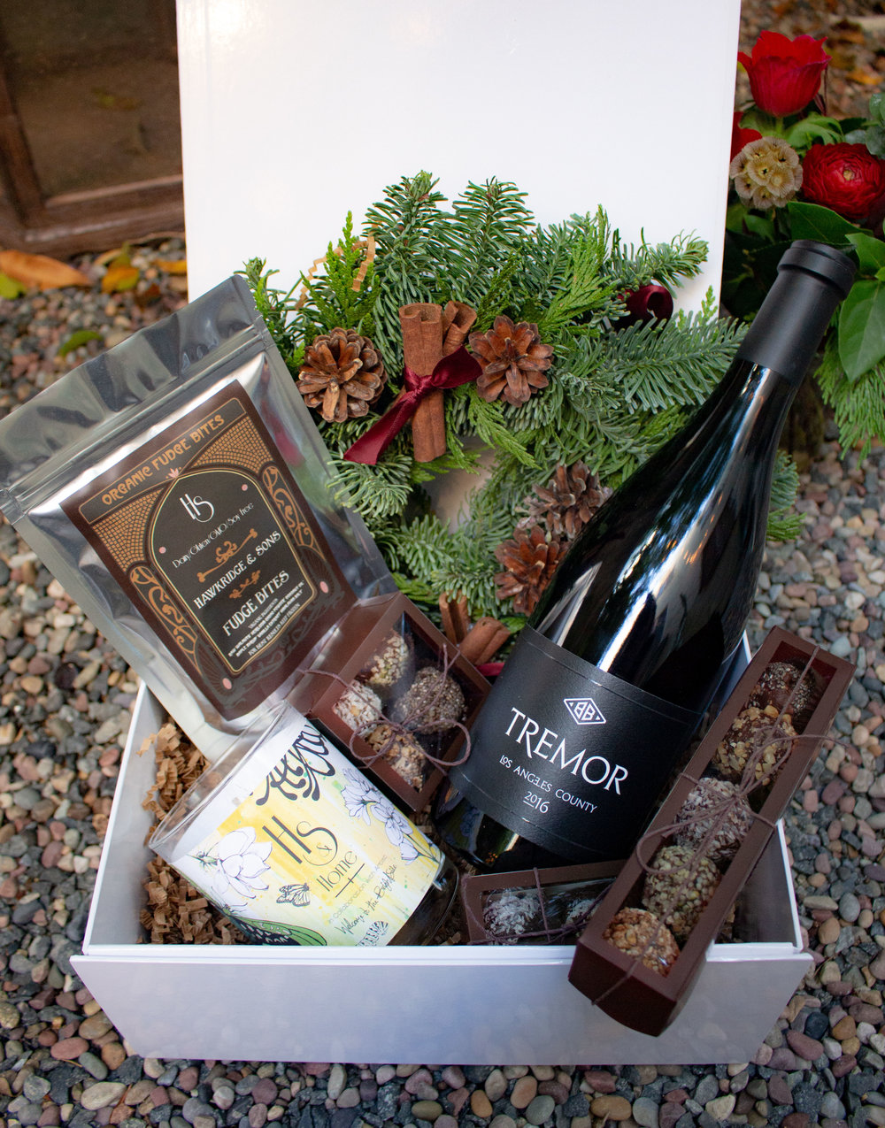 Jasmine /// Red Wine Combination $260   Gift box option, Christmas wreath, Candle, Blatty wine, Artisan Chocolates Box 5 piece, 4 piece & 2 piece and fudge bites. To purchase please contact info@hawkridgeandsons.com