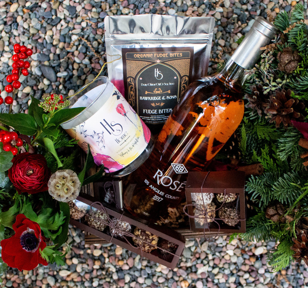 Rose /// Rosé Combination $240   Gift box option, Christmas wreath, Candle, Blatty wine, Artisan Chocolates Box 5 piece, 4 piece & 2 piece and fudge bites. To purchase please contact info@hawkridgeandsons.com