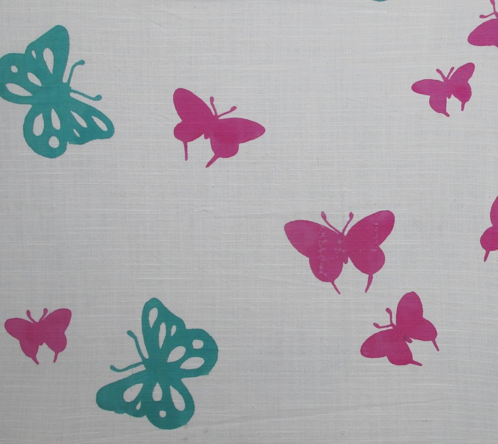 Butterflies pink green
