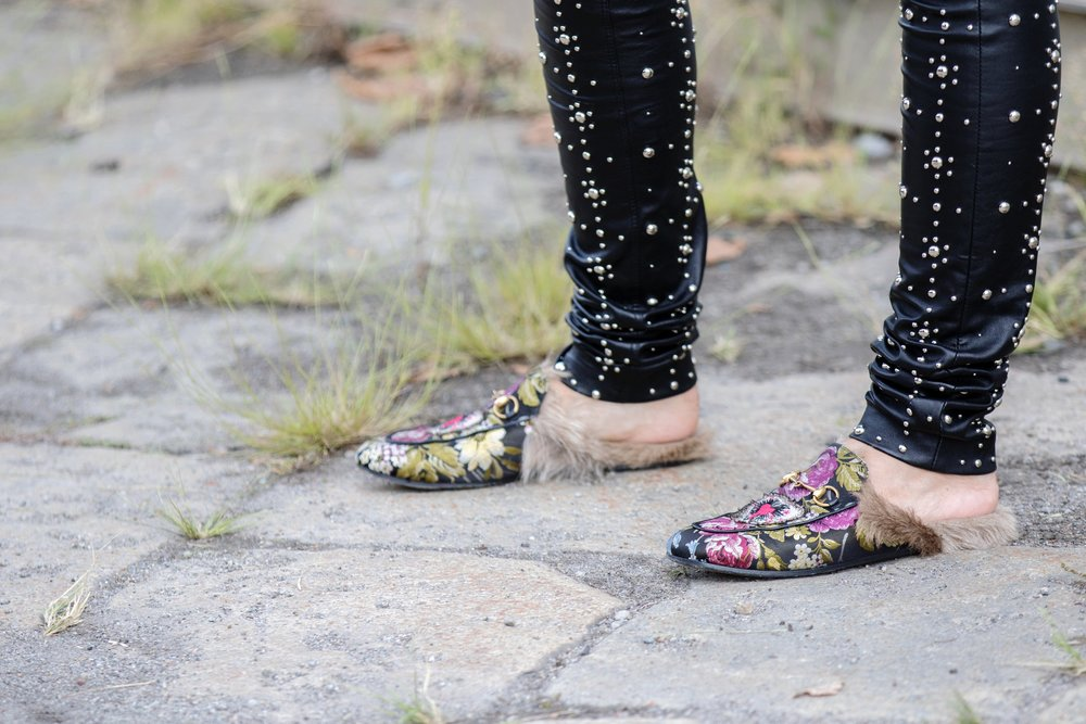 Gucci Flower Fur Slippers