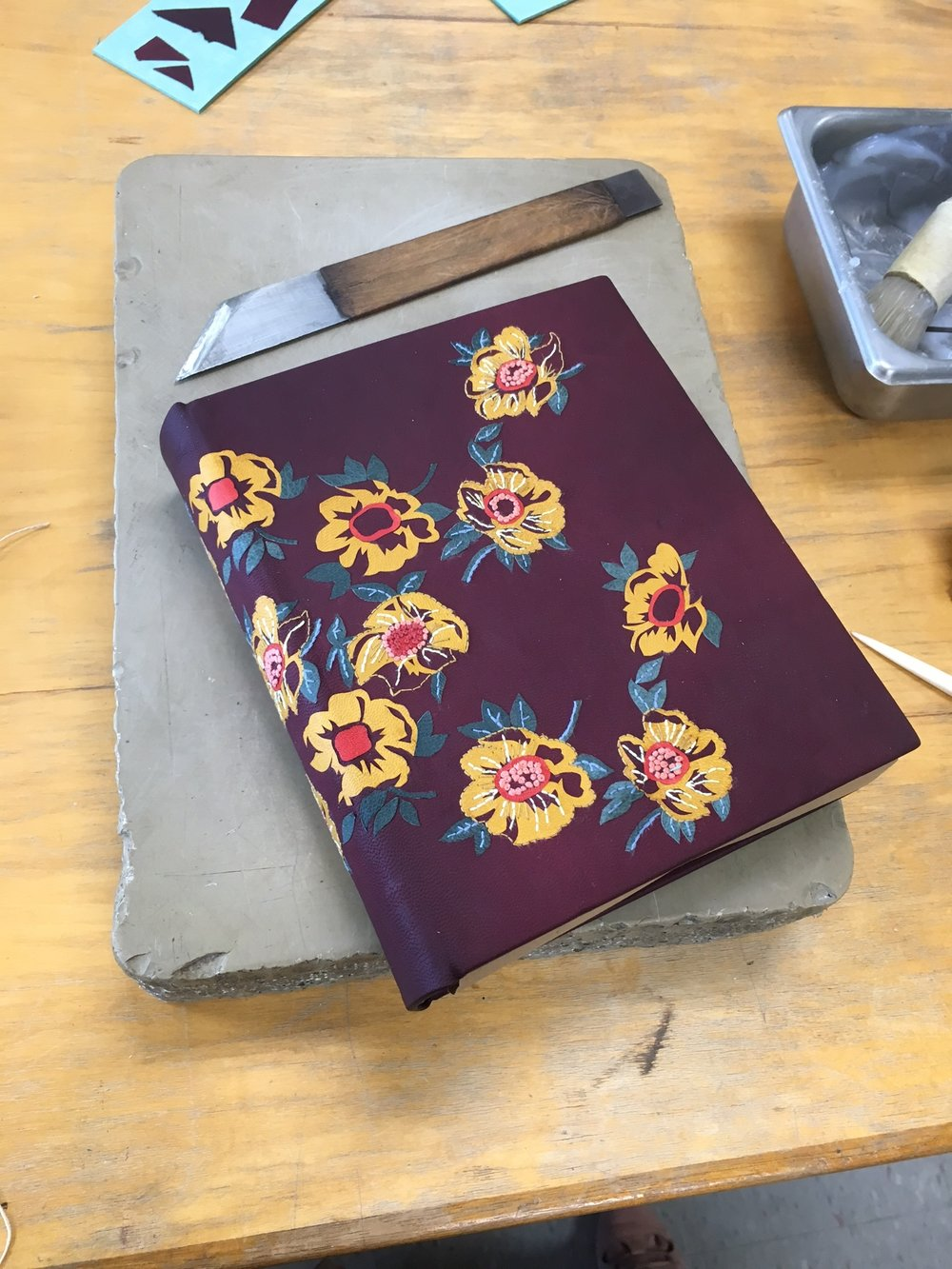 The binding just after being covered. Still wet and very fragile!