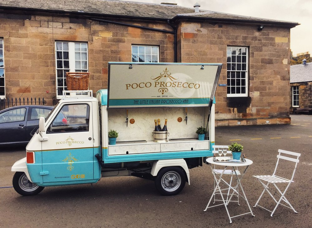 Poco Prosecco is a mobile Prosecco Van, based in Edinburgh and serves a superior Fizz on tap. Our 'Little Italian Prosecco Van' has been lovingly designed and custom fitted and will be a real highlight at your wedding, not to mention, beautiful in your wedding photos.