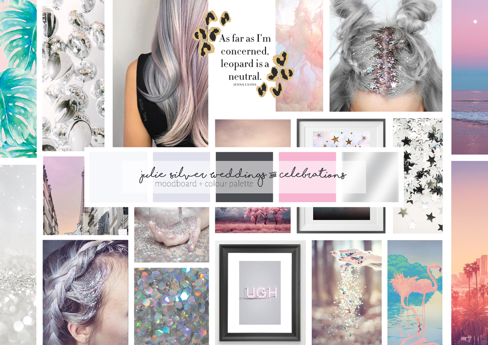 Brand moodboard & colour palette: Julie loves stars & sparkle, and images with grey-purple tones and a pop of colour.