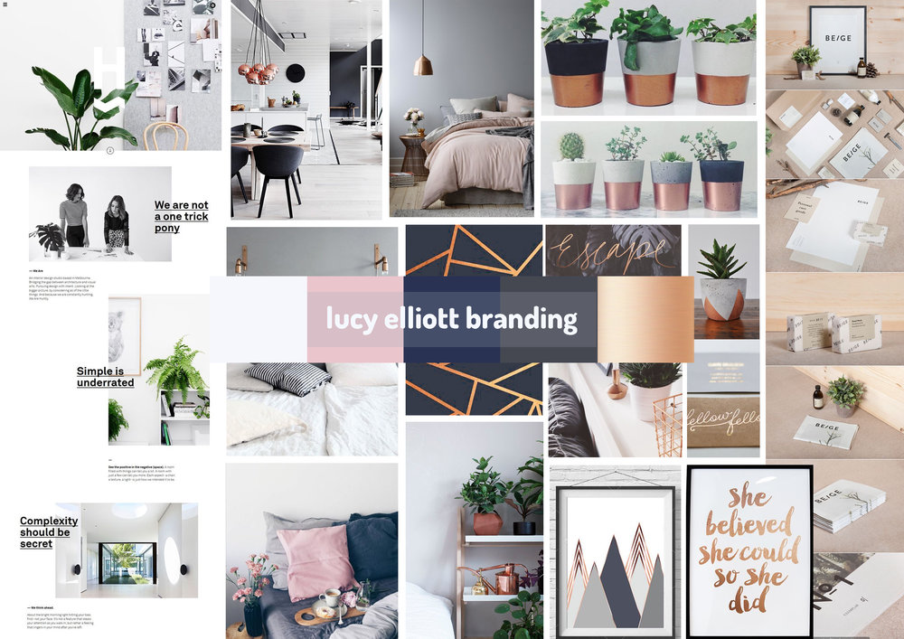 Brand moodboard & colour palette: clean, minimal branding.