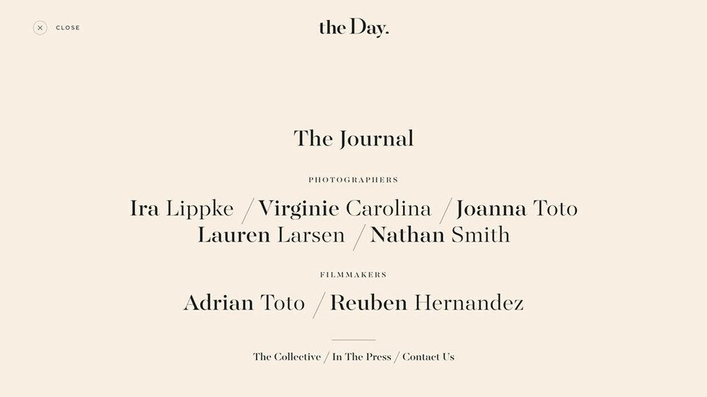 The Day  Fonts : Majesti, Gotham (ScreenSmart)