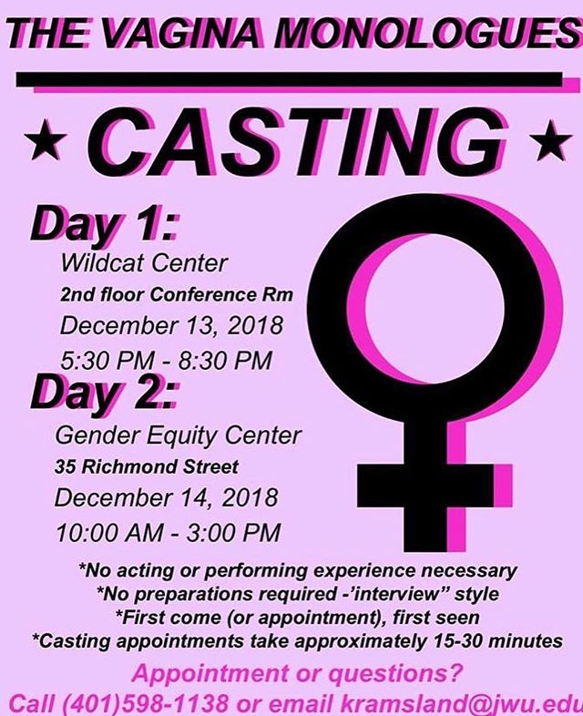 Casting for Vagina Monologues starts next week! If you can't make the audition dates please email Korina or call to schedule an audition in the center 💛