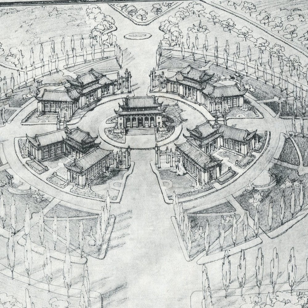 Wong's plan for new administrative center. Office of Technical Experts for Planning the National Capital, Shoudu jihua, Nanjing, China, 1929.