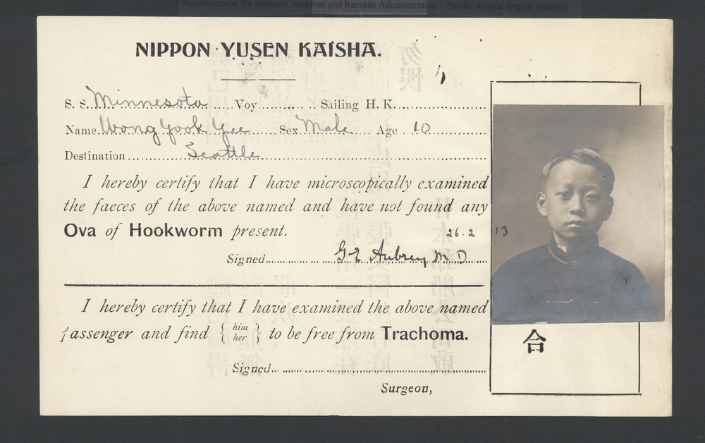 Y. Y. Wong medical certificate, 1913. Image courtesy Alexander Jay.