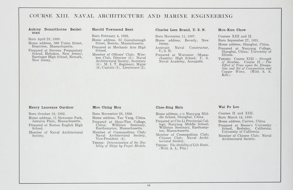 MIT Senior Portfolio 1914. 6 Chinese students received degrees in Course XIII that year. Image courtesy MIT Archives and Special Collections.