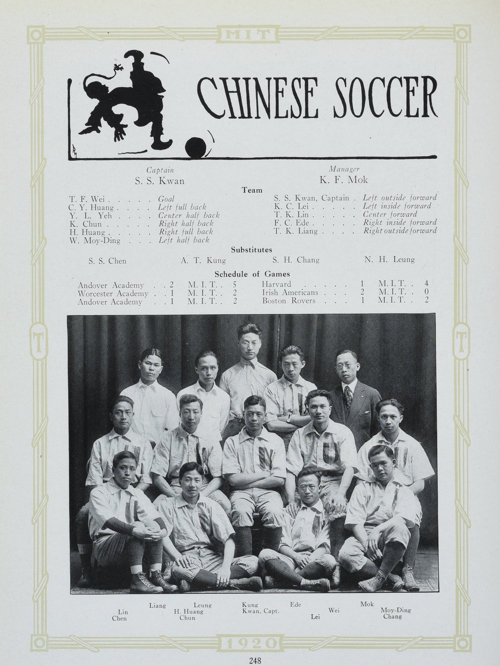 Chinese Soccer Team from MIT  Technique  1920. Image courtesy MIT Archives and Special Collections.