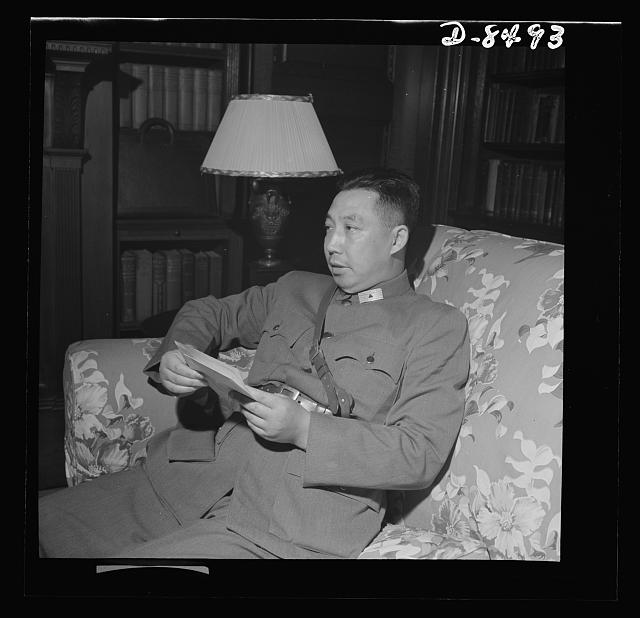 Press conference with General Chu Shih-Ming. On the fifth anniversary of the Chinese-Japanese War, Major General Chu Shih-Ming, Military Attache of the Chinese Embassy in Washington, D.C., held a press conference. He emphasized the Chinese commandos' contribution in the war, discussed the international situation, Liberman, Howard, photographer. July 1942, Farm Security Administration - Office of War Information Photograph Collection (Library of Congress), LC-DIG-fsa-8b07966 (digital file from original neg.) Library of Congress Prints & Photographs Division Washington, DC.  Source .