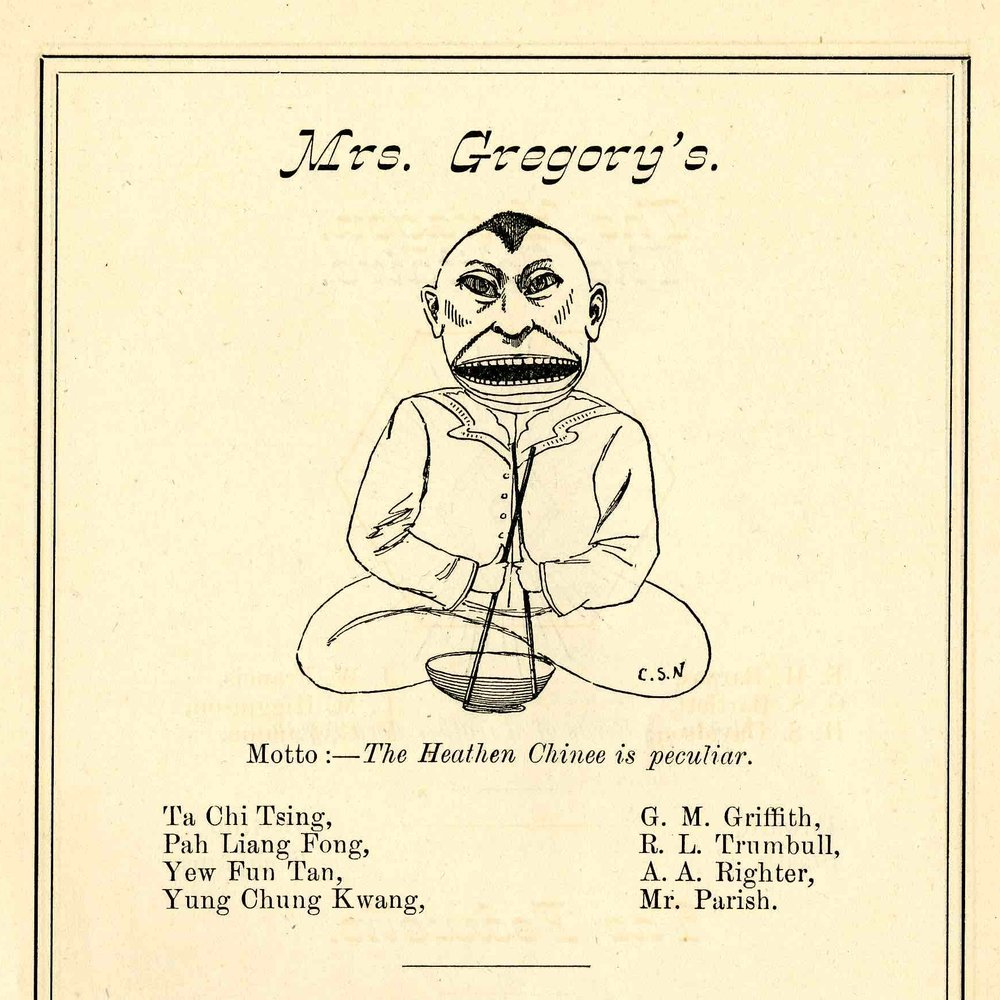 "PL Fong Class of 18814) and YC Kwong (Class of 1883) mocked as ""Heathen Chinee,"" The Cauldron, 1877, p. 47. Image courtesy Williston Northampton Academy Archives."