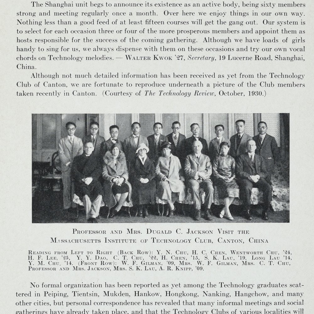 Prof. and Mrs. Jackson visit China, MIT Chinese Students Directory, 1931, p. 16. Image courtesy MIT Archives and Special Collections.