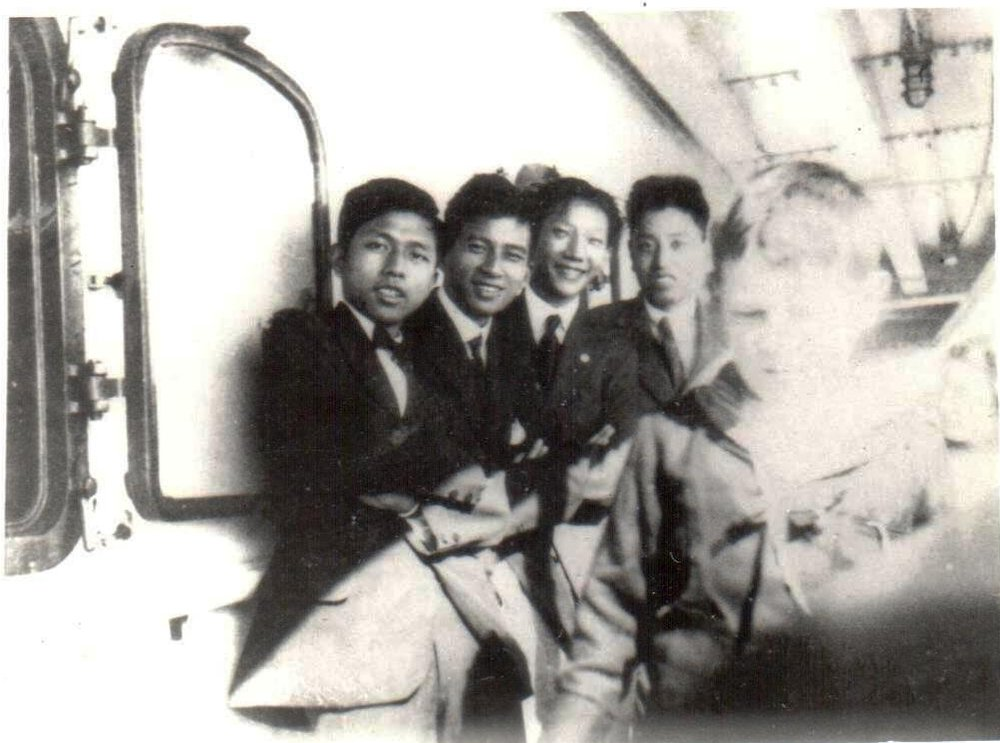 This snapshot shows four young men, three from Nanxun, aboard the SS Nanking, bound for the US in fall 1919. My father is on the left. Pau Ting KWE (second from left) and Jiuxiang ZHANG (right), friends from Nanxun, also attended MIT.