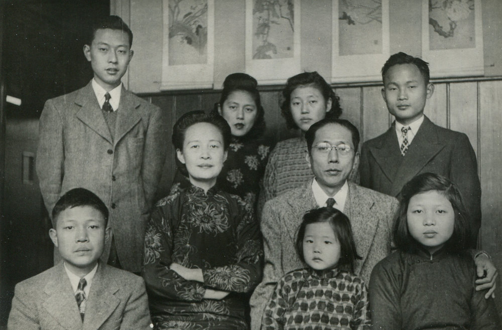 The entire family in Shanghai, ca. 1946-7. Courtesy Lillian Li. This is the only time all seven children were photographed together. The family was about to separate, which is probably why everyone looks rather somber.