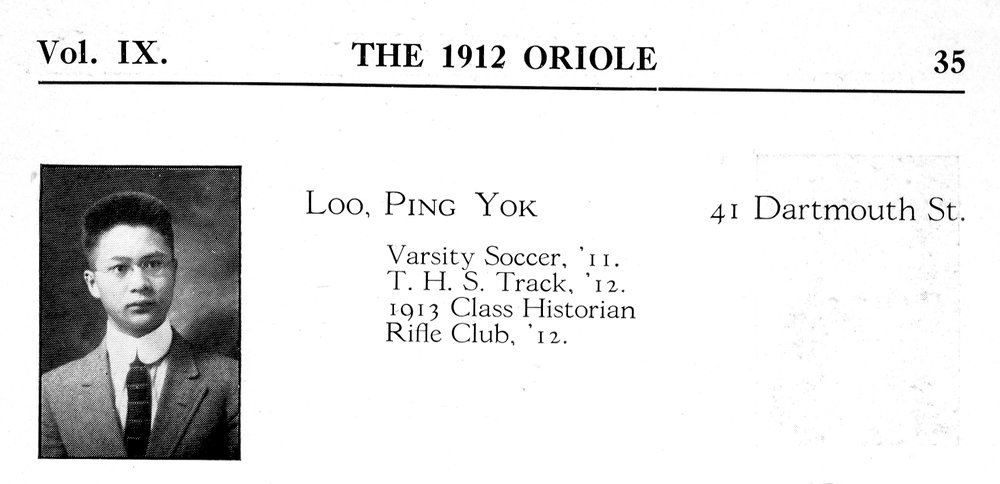 PY Loo in The Oriole, Springfield Technical High School, 1912. Courtesy Archives, Springfield History Museum.