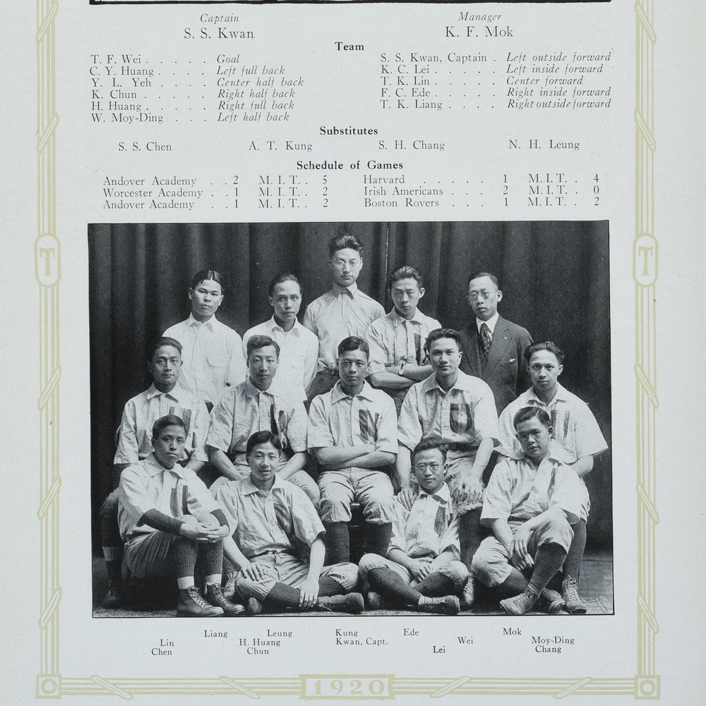 SS Kwan as Captain of the MIT Chinese Soccer Team, Technique 1920.  Courtesy MIT Archives and Special Collections.