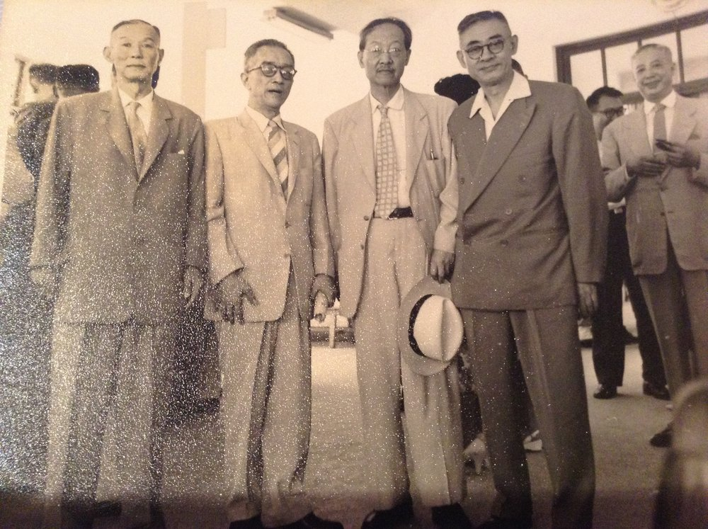 "Classmates of the second class of Boxer Indemnity Scholars at Tsinghua, 1940s.  Left to right: ZY ""Elephant"" Chow, HU Shih, YR CHAO, and YANG Sih-zung. C ourtesy of Mabel Chow with assistance from Julian Suez."