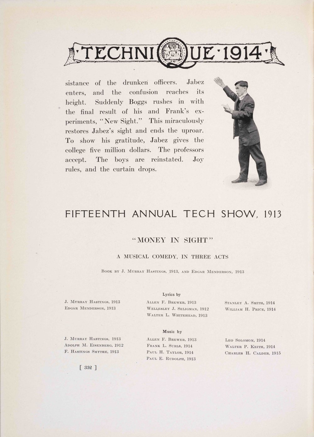 ZY Chow in Tech Show, 1913.  Technique  1914. Courtesy MIT Archives and Special Collections.