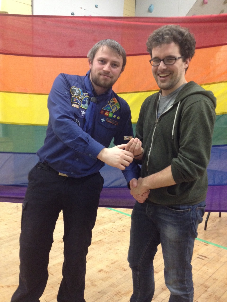 Eoin Egan (a former scout himself, and current ShoutOut volunteer) pictured with Scout Master Ger Hennessy.