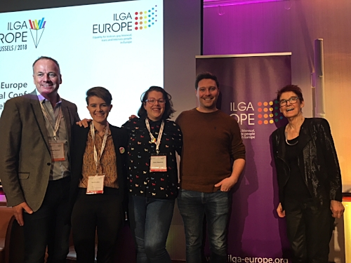From left: Brian Sheehan; Co chair ILGA Europe, Niamh Cullen; European Commission, Bella FitzPatrick; ShoutOut Managing Director, Declan Meehan; ShoutOut Chairperson, Deputy Director of Cara Friend, Ailbhe Smyth; absolute hero