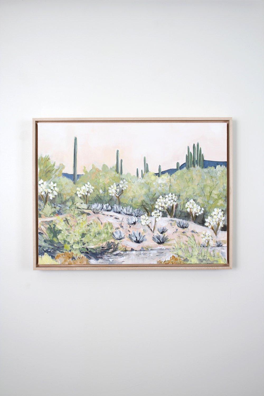 Laurie Anne Art peach desert sunrise painting