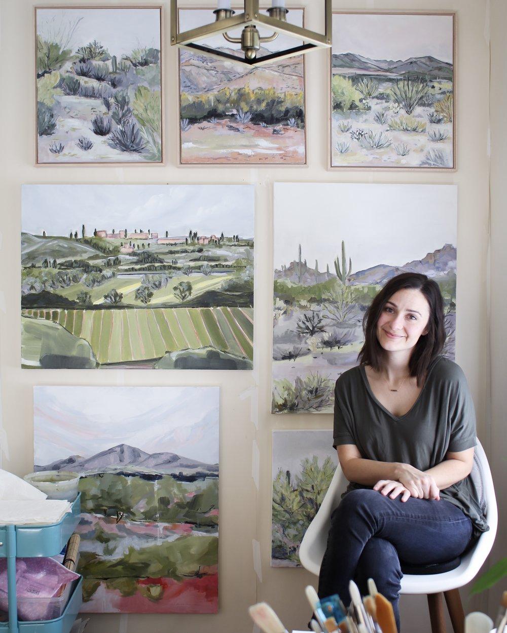 Laurie Anne Art La in kitchen studio