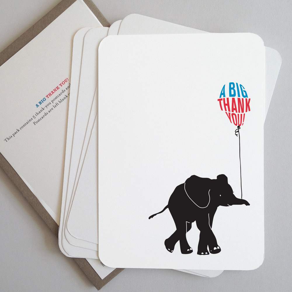 Elephant thank you postcards: BB-E_thank you