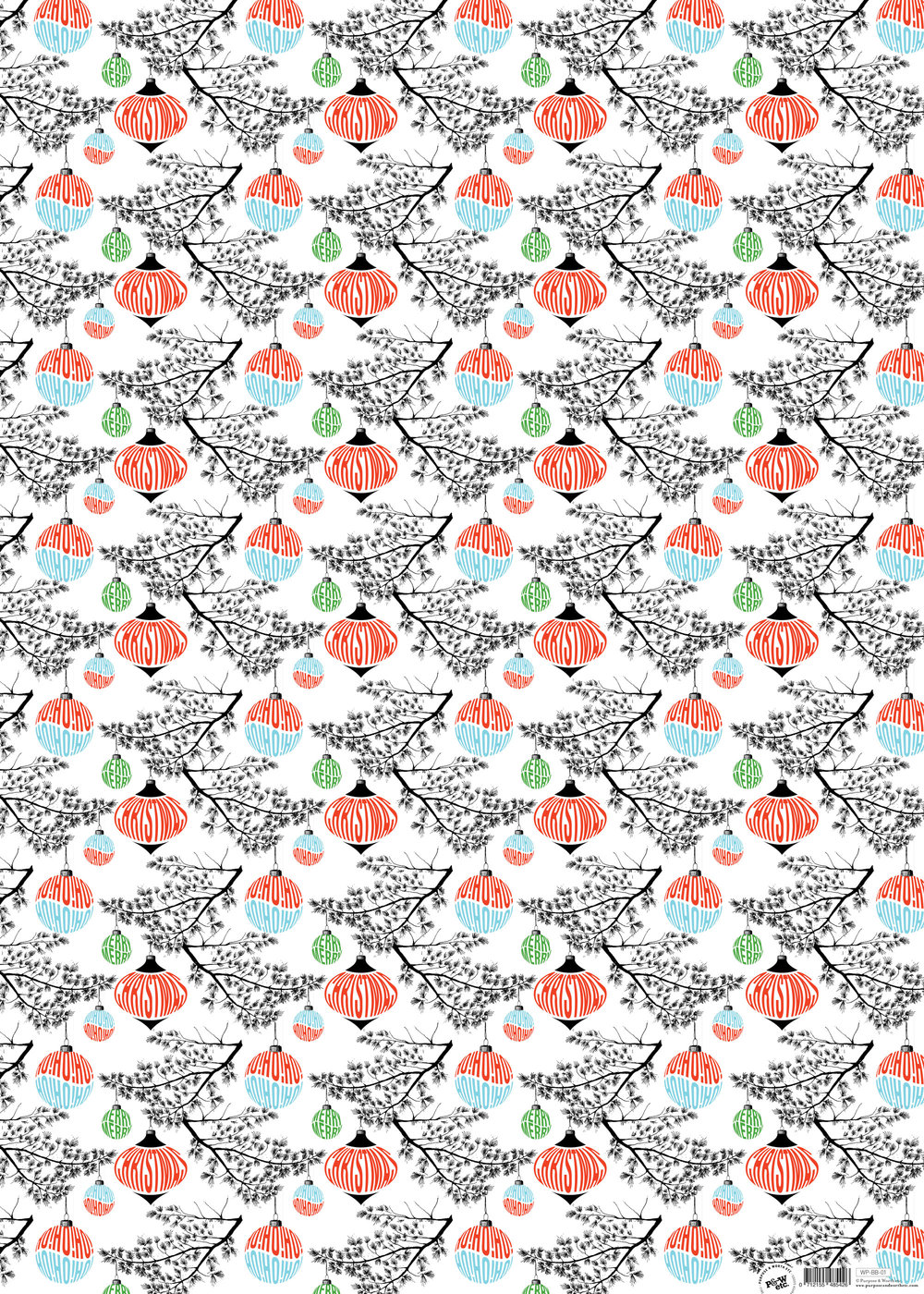 Baubles & Boughs wrapping paper: WP_BB_01, matching cards available