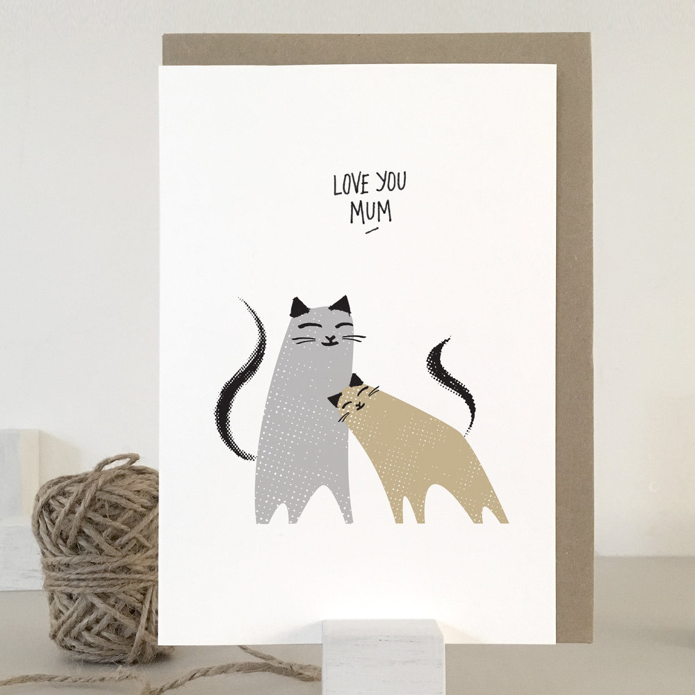 Love you mum cat card: KC15
