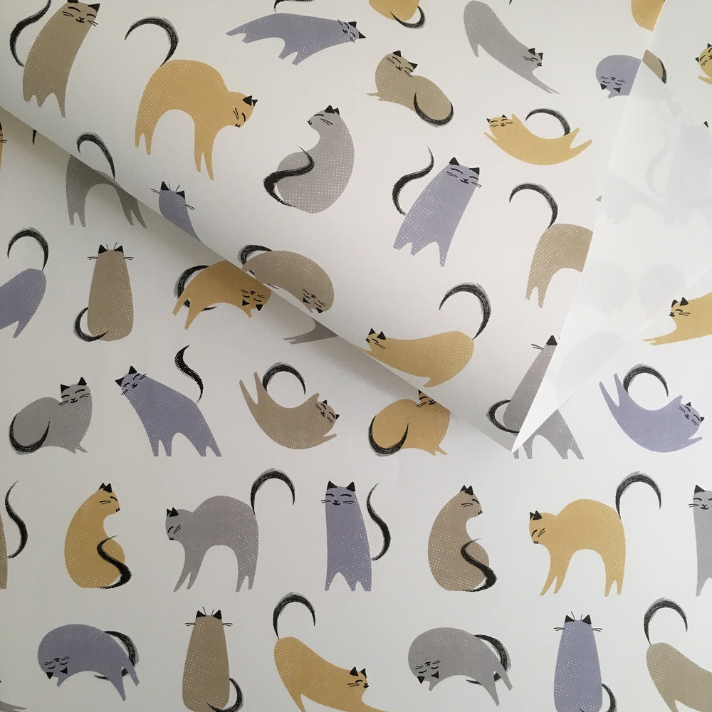 Wrapping paper, multi-colour cats: WP_KC_02