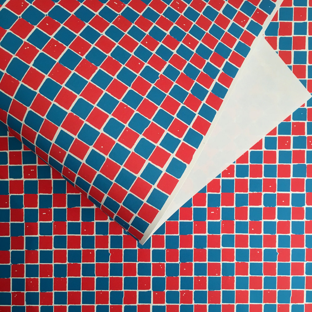 Checkerboard wrapping paper, red/blue: WP_CB_02