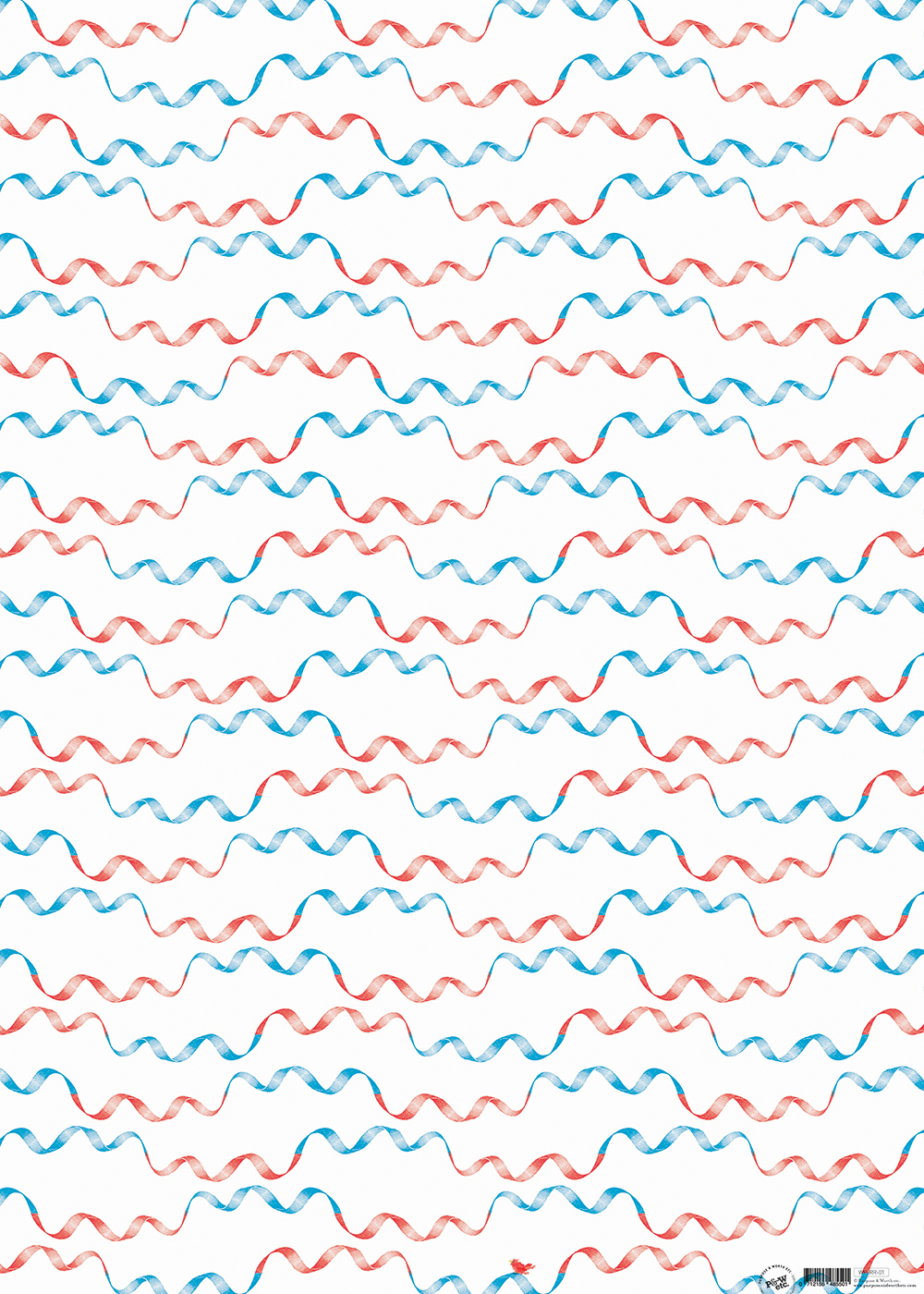 Retro Ribbon wrapping paper, Red + blue: WP_RRRB_01