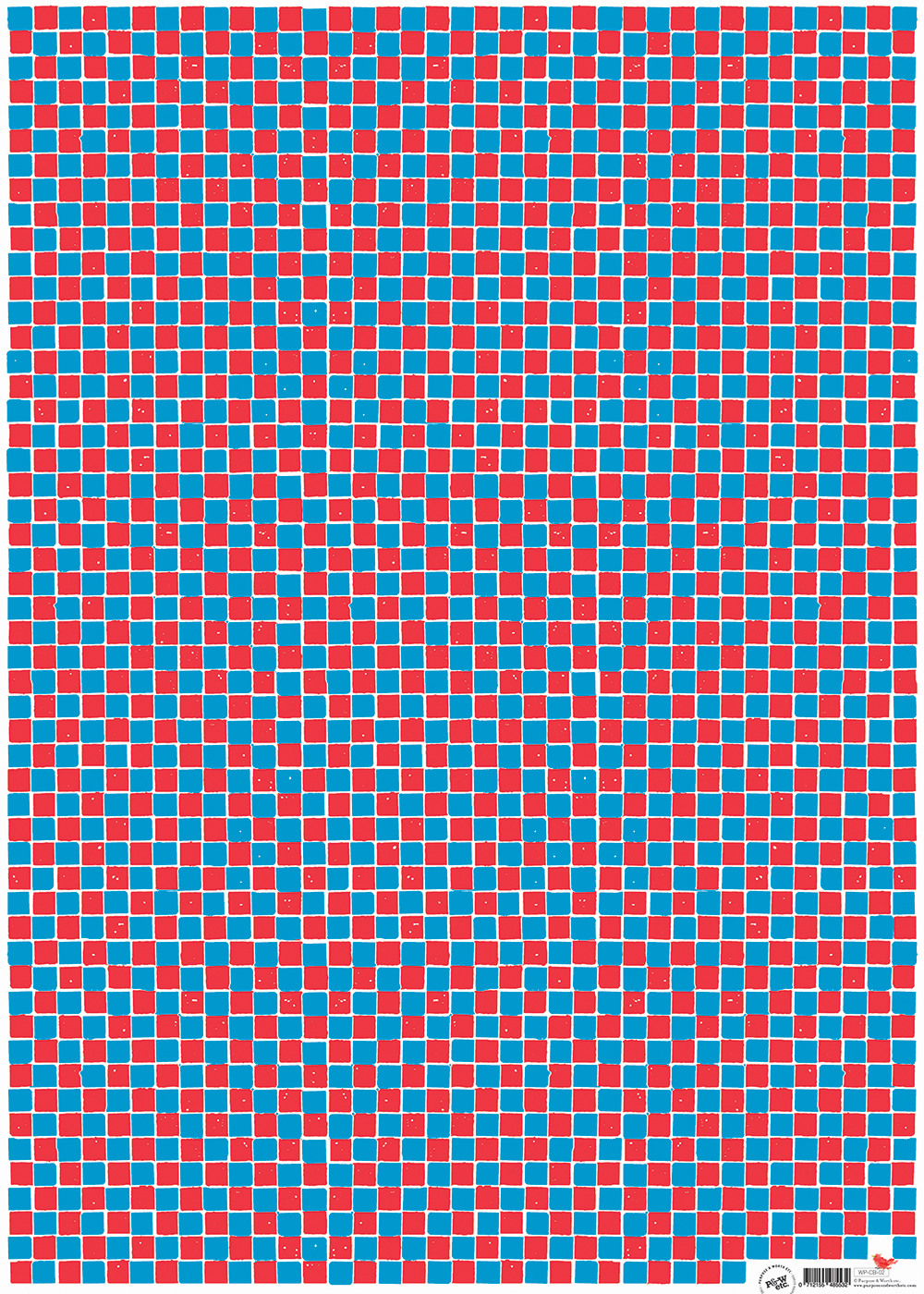 Checkerboard wrapping paper, Red + blue: WP_CBRB_02