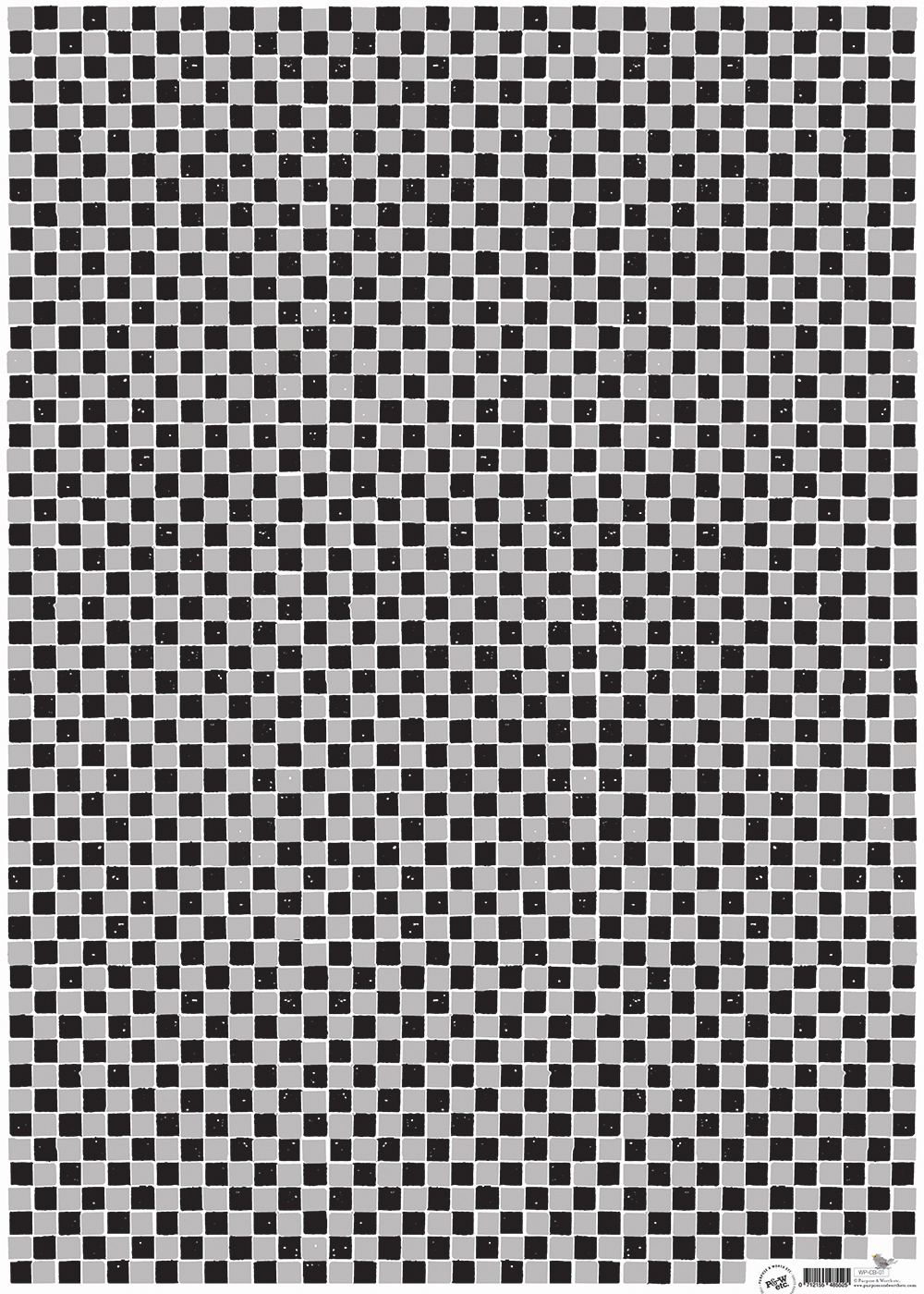 Checkerboard wrapping paper, Grey + black: WP_CBBG_01