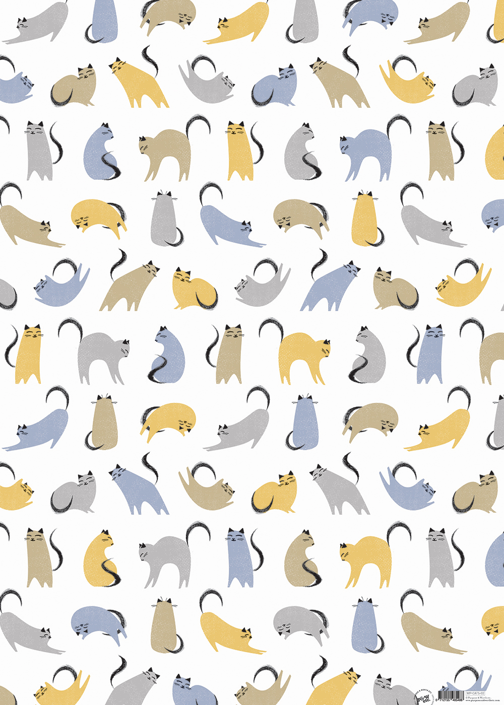 Kitty-corner Multi-colour cats wrapping paper: WP_KC_02, matching cards available