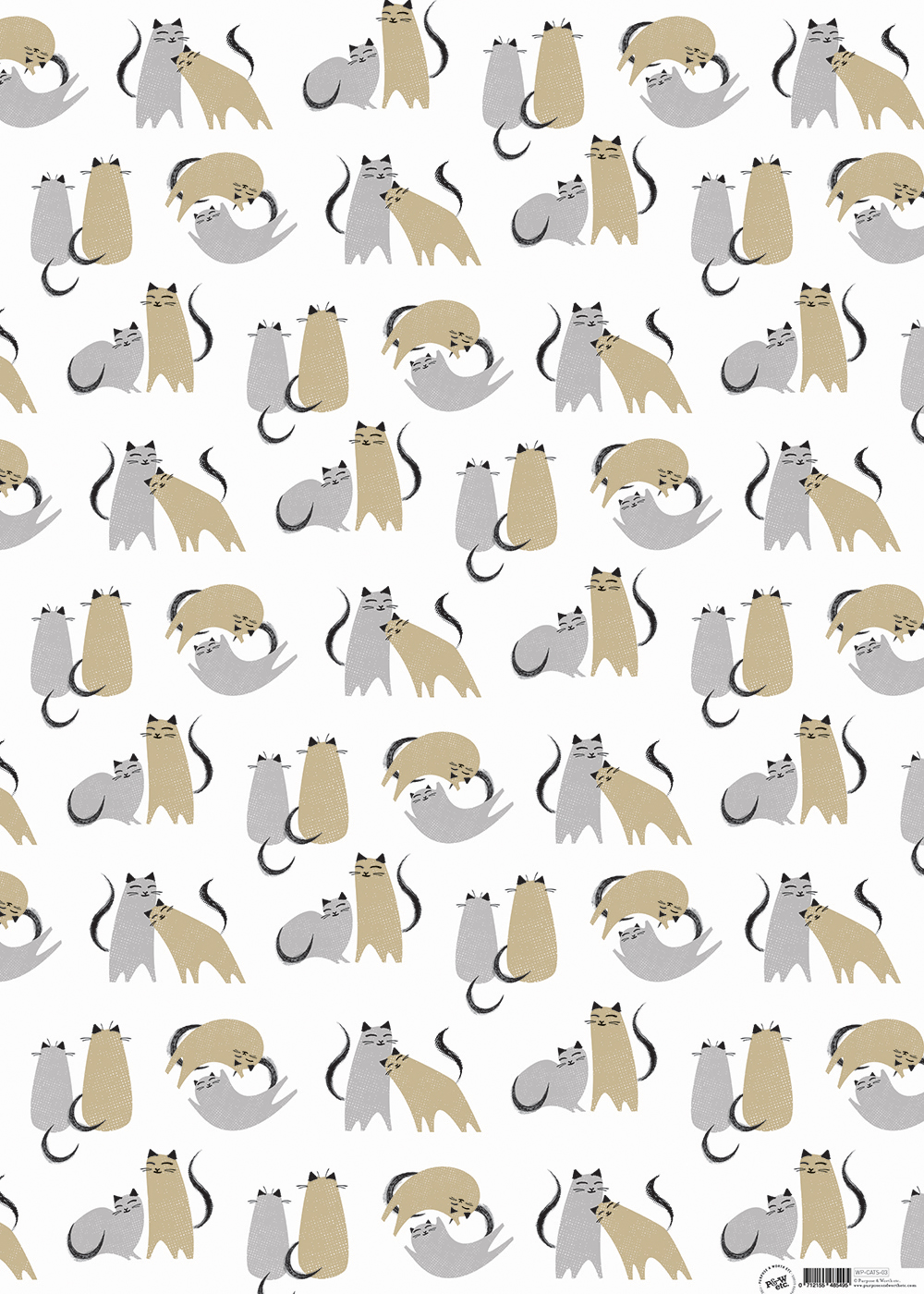 Kitty-corner Love cats wrapping paper: WP_KC_03, matching cards available