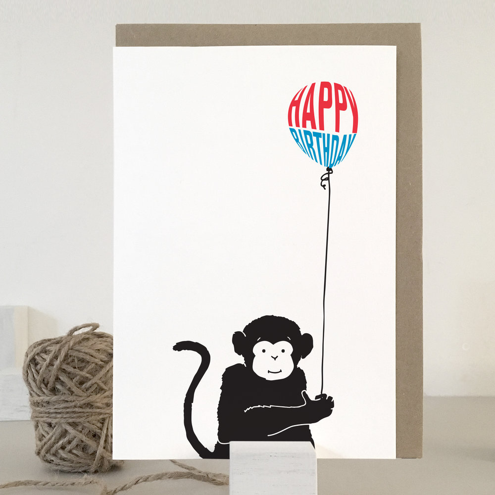 Monkey birthday card: NBB08