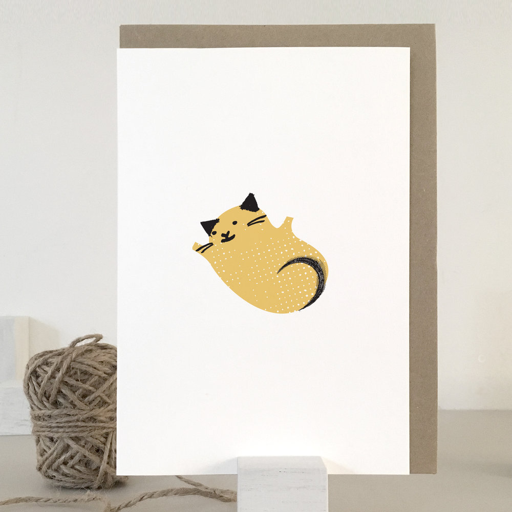 Fur baby, new baby card, yellow: KC31